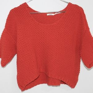 Kimchi Blue Crop Orange Knit Sweater Women's Small